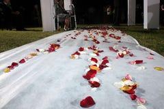 Blumen auf Hochzeits-Pfad Stockbild