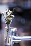 Blumen auf Kaffee-Tabelle Stockfotografie