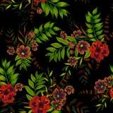 Blumen auf schwarzem Muster Stockbild