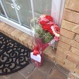 Blumen auf Türstufe Lizenzfreie Stockfotografie