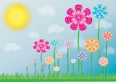 Blumen auf Wiese Stockbilder