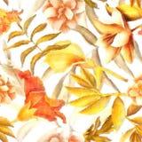 Blumen-Betriebs-und Blatt-Muster-Hintergrund Flora Bouquet Paintings Stockfotos