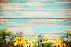 Blumen blühen auf der hölzernen Weinlese stockfotografie