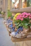 Blumen in den alten Stiefeln Lizenzfreie Stockfotos