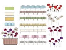 Blumen in den Behältern, die an den Fensterbrettern wachsen und Stockbilder