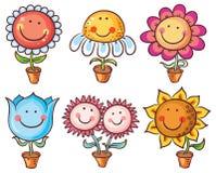 Blumen in den Töpfen als Zeichentrickfilm-Figuren mit Gesichtern lizenzfreie abbildung