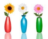 Blumen in den Vasen auf weißem Hintergrund Lizenzfreie Stockfotos