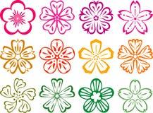 Blumen in der Art von Japnese und von Chinesen Stockbilder