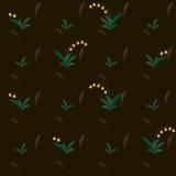Blumen der gelben Glocke auf braunem abstraktem Vektortapetenmuster Stockbilder