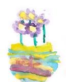 Blumen in der kindischen Zeichnungskunst des Vase lokalisiert auf Weiß Stockfotos