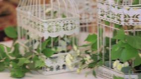 Blumen in der weißen Weinlese dekorativ für Geburtstag stock footage