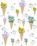 Blumen in einem Eistütemuster Vektorsommer-Illustrationshintergrund vektor abbildung