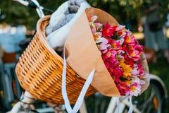 Blumen in einem Fahrradkorb stockbilder