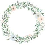 Blumen eingestellt Schöner Kranz Elegante Blumensammlung mit lokalisierten Blauen, Rosablättern und Blumen, Hand gezeichnet Lizenzfreies Stockfoto