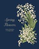 Blumen Eleganter Rahmen mit Blumen Weinlesevektorillustration Klassische Karte Stockfotografie