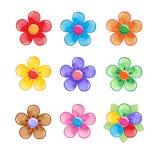Blumen-Farbikonensatz Fantasie-Blütenbonbonwelt Stockfotografie