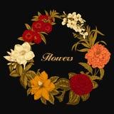 Blumen Feld blühende Rosen der Skizze auf einem purpurroten Hintergrund mit Streifen Gemüsemuster Botanisches Thema Lizenzfreie Stockbilder