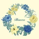 Blumen Feld blühende Rosen der Skizze auf einem purpurroten Hintergrund mit Streifen Gemüsemuster Botanisches Thema Stockbild