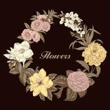 Blumen Feld blühende Rosen der Skizze auf einem purpurroten Hintergrund mit Streifen Gemüsemuster Botanisches Thema Lizenzfreie Stockfotografie