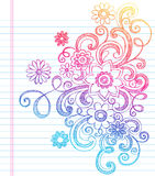 Blumen flüchtig zurück zu Schule-Gekritzel-Vektor stock abbildung