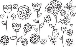 Blumen-Garten-Gekritzel-Vektor Stockfoto