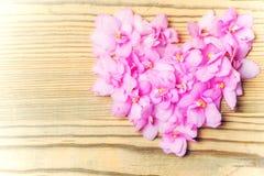 Blumen gelegt in Form von Herzen auf hölzernen Hintergrund Lizenzfreie Stockbilder