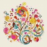 Blumen, Herzen, Vogelnaturillustration Lizenzfreie Stockfotografie