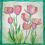 Blumen-Illustrations-Hintergrund Stockfoto