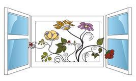 Blumen im Fenster. stock abbildung