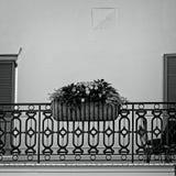 Blumen im Korb auf Quatsch im französischen B&W-Viertel Stockfoto