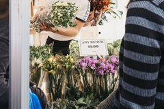 Blumen im Verkauf am Kolumbien-Straßen-Blumen-Markt, London stockfoto