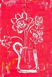 Blumen im weißen Krug Lizenzfreie Stockfotos