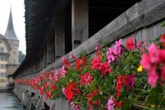 Blumen-Kasten auf überdachter Brücke Lizenzfreies Stockbild