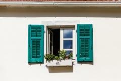 Blumen-Kasten im Fenster mit grünen Fensterläden Stockbilder