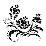 Blumen--Kraut-schwarz-Muster-neu Stockbild