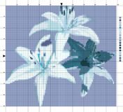 Blumen lilien Kreuzstichentwurf Vektor Abbildung