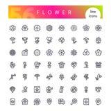 Blumen-Linie Ikonen-Satz lizenzfreie stockbilder