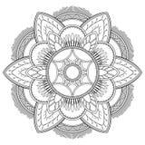 Blumen-Mandalamotive Dekorative Elemente der Weinlese Orientalisches Muster, Vektorillustration Malbuchseite Stockfotos