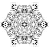 Blumen-Mandalamotive Dekorative Elemente der Weinlese Orientalisches Muster, Vektorillustration Malbuchseite Lizenzfreie Stockfotos