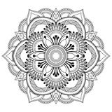 Blumen-Mandalamotive Dekorative Elemente der Weinlese Orientalisches Muster, Vektorillustration Malbuchseite Stockfotografie