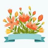 Blumen mit Farbband Stockfoto