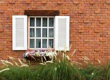 Blumen mit grünem Gras und weißem hölzernem Fenster auf Backsteinmauer Stockfotos