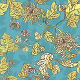 Blumen mit leaves.seamless Hintergrund Lizenzfreie Stockfotos