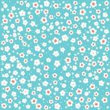 Blumen-Muster, weiß auf Blau Lizenzfreie Stockbilder