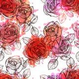 Blumen-nahtlose Hand gezeichnetes Muster Stockfotografie