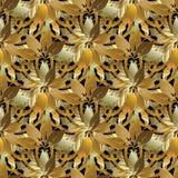 Blumen-nahtloses Muster 3d der belaubten Gold-barocken Art Vektor vint Stockbild