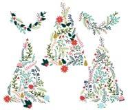 Blumen- oder botanische Weihnachtsbäume Lizenzfreie Stockbilder