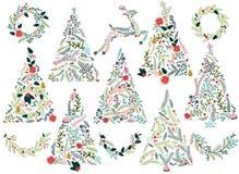Blumen- oder botanische Weihnachtsbäume Lizenzfreies Stockbild