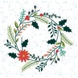 Blumen- oder botanischer Weihnachtskranz lizenzfreie abbildung