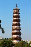 Blumen-Pagode des Tempels von sechs Banyanbäumen Stockbild